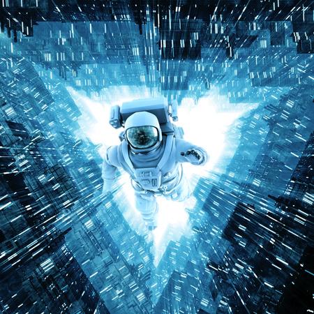 コアにダイビング宇宙飛行士の 3 D イラストレーション フローティング明るい宇宙船の廊下に沿って