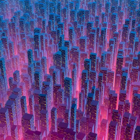 City of light  3D illustration of city lights at night Stock Photo