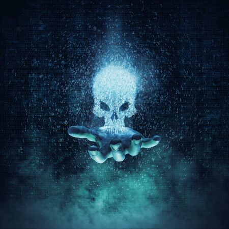 Computer crime and virus concept / 3D illustration glowing skull formed by binary digits floating above open hand