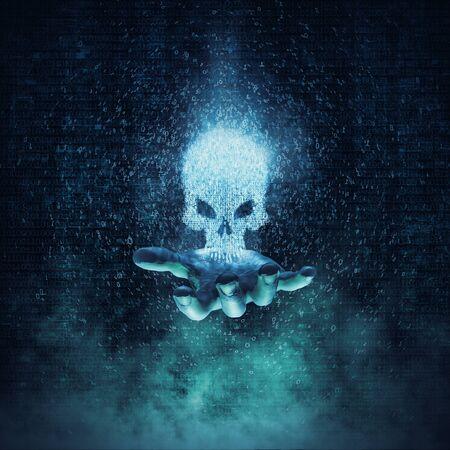 Crime informatique et concept de virus / illustration 3D crâne rougeoyant formé par les chiffres binaires flottant au-dessus de la main ouverte Banque d'images