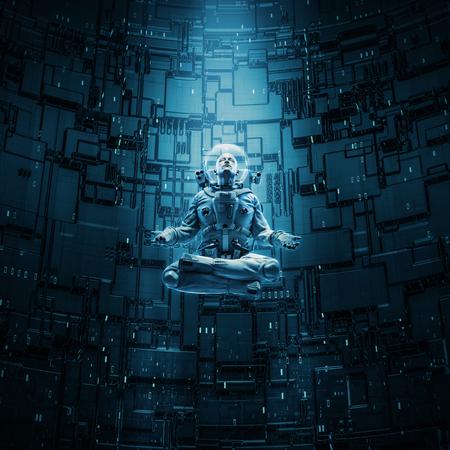 Het mediteren van astronautenconcept  3D illustratie van astronaut in lotusbloem stelt onder lichtstraal