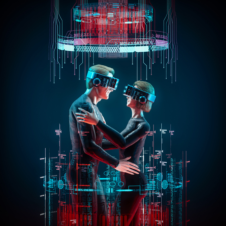 Virtual love concept  3D illustration of male and female figures embracing wearing virtual reality glasses Stock Photo
