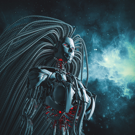 gazing: Female cyborg space  3D illustration of metallic female android with flowing tentacled hair gazing into space Stock Photo