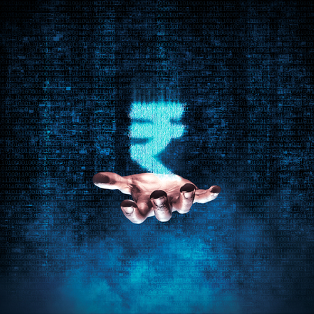 floating: Binary rupee hand  3D illustration of glowing rupee symbol formed by binary digits floating above open hand Stock Photo