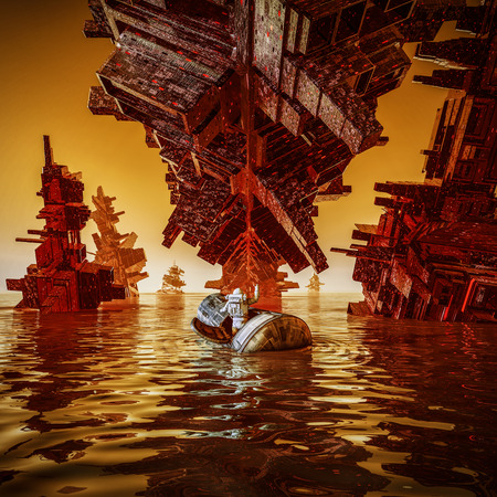 Illustration des Wasserlandungsastronauten / 3D des Astronauten in der Landungskapsel auf ausländischer Wasserwelt Standard-Bild - 87245847