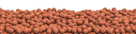 농구 더미 파노라마  basketballs 수백 파노라마보기의 3D 그림