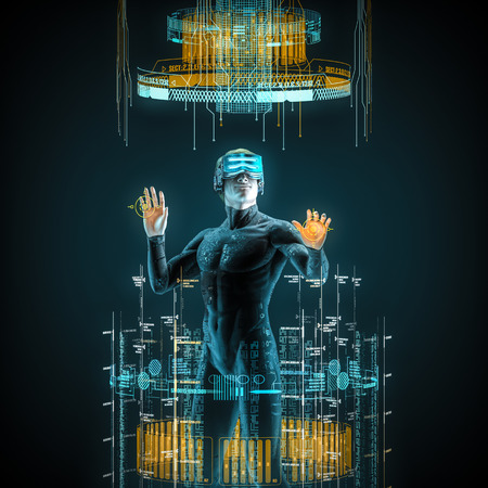 Virtual reality male user / 3D illustration of male figure in virtual gear working in cyberspace