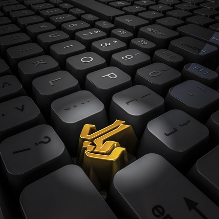 Money key riyal  3D illustration of computer keyboard with gold riyal symbol key Stock Photo