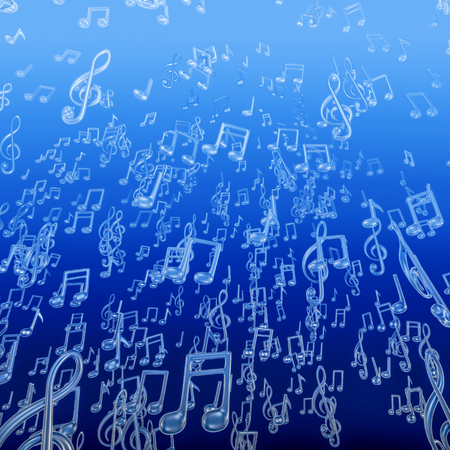 Underwater music bubbles  3D illustration of musical note bubbles rising toward ocean surface