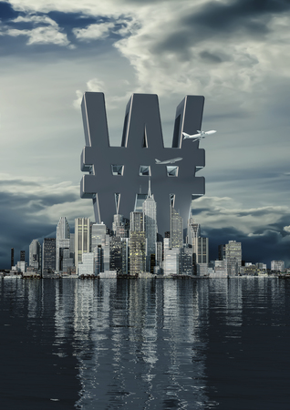 Business city won  3D illustration of South Korean won currency symbol rising from modern city on the waterfront