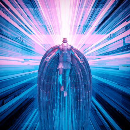 Science fiction angel  3D illustration of futuristic angel floating in technological space