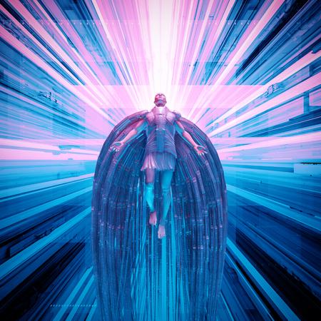 Zukunftsromanengel / Illustration 3D des futuristischen Engels schwimmend in technologischen Raum Standard-Bild - 88608034