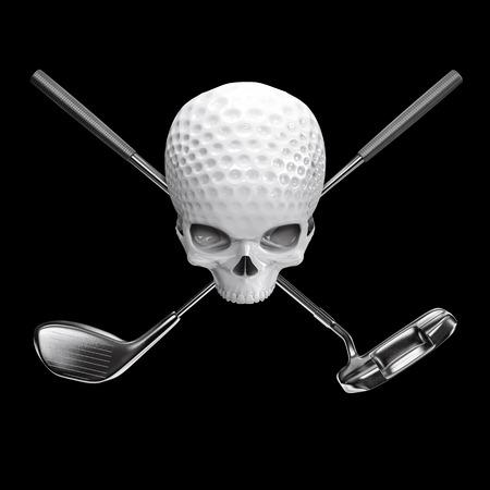 Golfbalschedel  3D illustratie van schedelvormige golfbal met gekruiste bestuurder en putterclubs