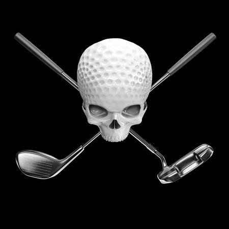 Golf ball skull  3D illustration of skull shaped golf ball with crossed driver and putter clubs Stock Photo