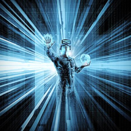 Virtuele werkelijkheidsgegevensstroom  3D illustratie van mannelijk cijfer in virtueel toestel die in cyberspace werken