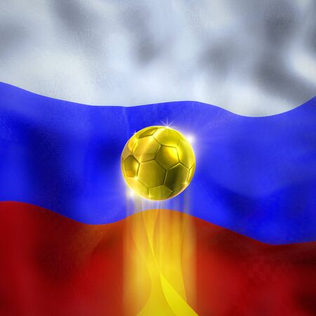 Russia soccer gold ball  3D illustration of golden soccer ball rising in front of Russian Federation flag
