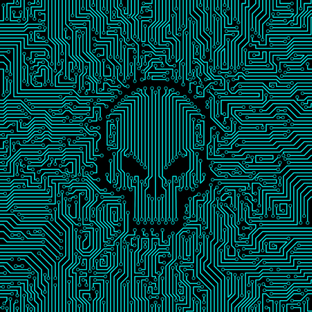 Circuit imprimé crâne / illustration vectorielle du modèle de carte de circuit imprimé d'ordinateur abstrait avec forme de crâne au milieu