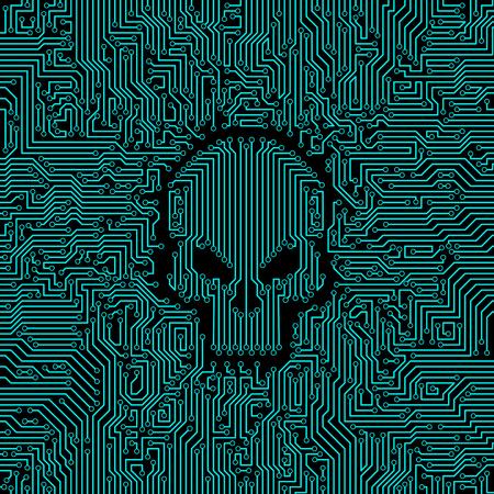 placa de circuito / ilustración vectorial de placa de circuito placa gráfica abstracta con forma de cráneo en el medio