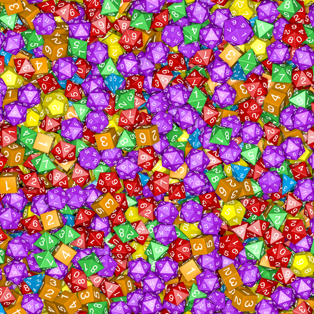 Role playing dice background / 3D illustration of hundreds of multicoloured polyhedral wargaming and role-playing dice Stock Photo