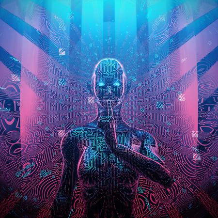 秘密の女性AIの人工知能コンセプト3Dイラスト