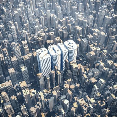 2019 conceito de torre de escritório / ilustração 3D do ano 2019 em forma de edifício no centro da cidade moderna Foto de archivo - 93885483