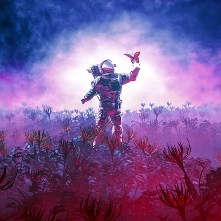 La excursión / ilustración 3D del astronauta que se encuentra con una mariposa en un paisaje alienígena Foto de archivo