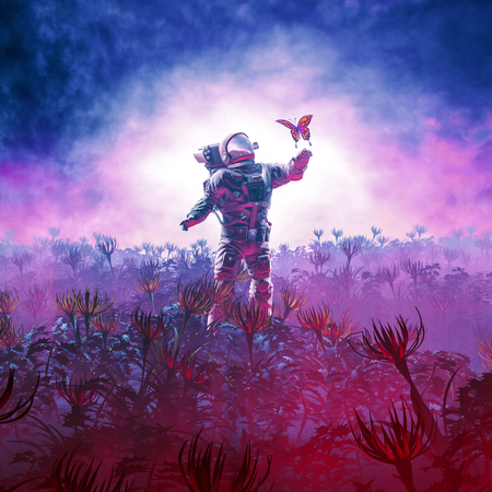 The field trip / 3D illustration of astronaut encountering butterfly in alien landscape