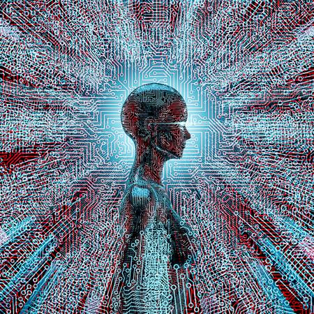 回路基板線の中心にある女性AIの人工知能プロファイル3Dイラスト
