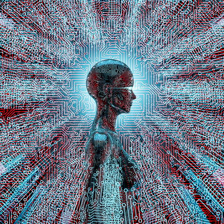 Artificial intelligence profile  3D illustration of female AI at the centre of circuit board lines