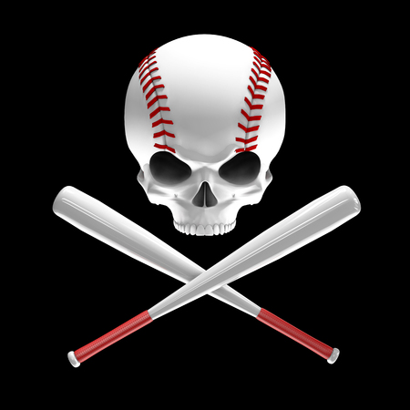 Baseball skull and bats  3D illustration of skull shaped baseball with crossed baseball bats