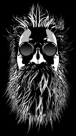 Hairy hippie character  3D illustration of cartoon style grungy bearded man wearing sunglasses Stock Photo