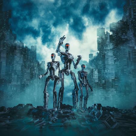Robots en patrulla / ilustración 3D de la escena de ciencia ficción con tres robots militares buscando ruinas de la futurista ciudad distópica