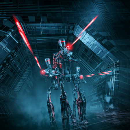 l attacks  3D illustration of science fiction scene with three military robots advancing through spaceship corridor firing laser rifles Stock Photo
