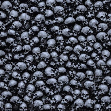 ゴシック頭蓋骨の背景暗い不機嫌な人間の頭蓋骨の3Dイラストが密接に一緒に積み重なった