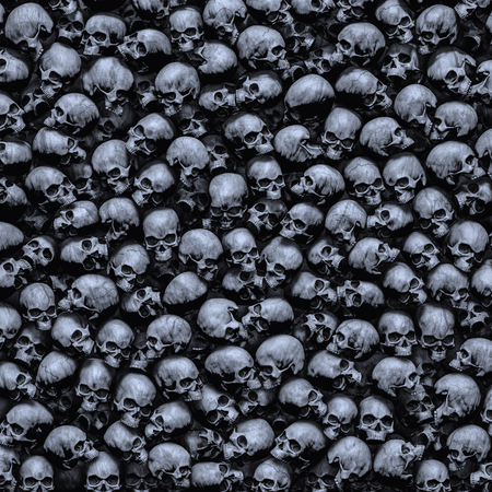 Gothic skulls background  3D illustration of dark grungy human skulls piled closely together