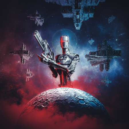 Prelude to space war  3D illustration of science fiction scene showing large military android with rifle looming over moon with fleet of spaceships in the background Stock Photo