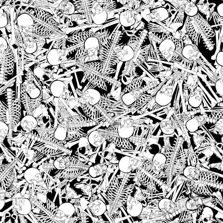 骨庭のごちゃごちゃ抽象的な黒と白の漫画スタイルの骨格の背景の3Dイラスト