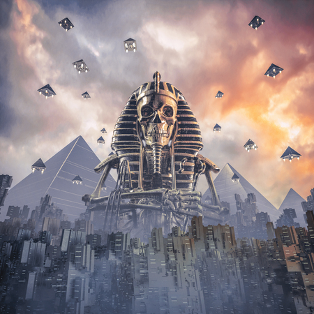 Gods of New Egypt / 3D illustration of science fiction scene showing skeleton pharaoh figure rising above fictional futuristic Egyptian city at sunset with pyramid shaped spaceships rising into sky Stock Photo