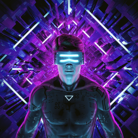 Virtual gamer man  3D illustration of male figure entering glowing virtual game environment