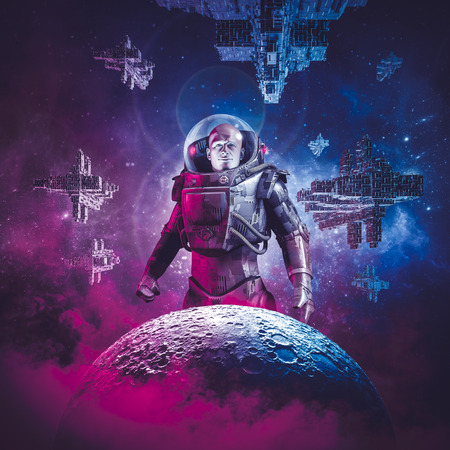 Intergalactic space hero  3D illustration of science fiction scene showing heroic male astronaut rising above moon with fleet of spaceships in the background