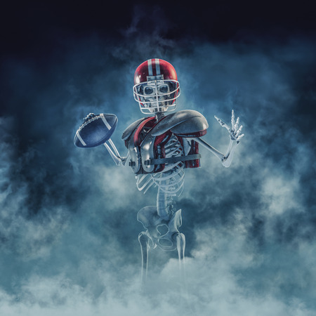 The phantom football quarterback  3D illustration of scary skeleton with American football, helmet and shoulder pads emerging through smoke Stock Photo