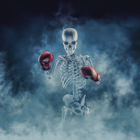 The phantom boxer  3D illustration of scary fighter skeleton wearing boxing gloves sign emerging through smoke