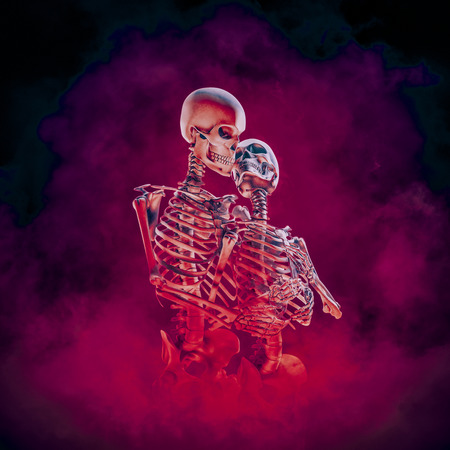 Evermore gothic romance  3D illustration of embracing male and female skeleton lovers surrounded by blazing inferno