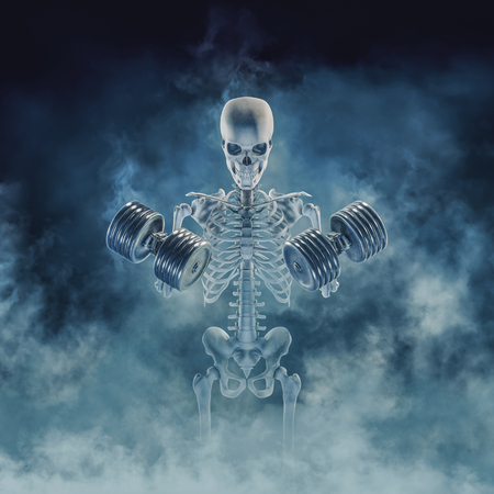 The phantom bodybuilder / 3D illustration of scary fitness skeleton lifting heavy dumbbells emerging through smoke 免版税图像