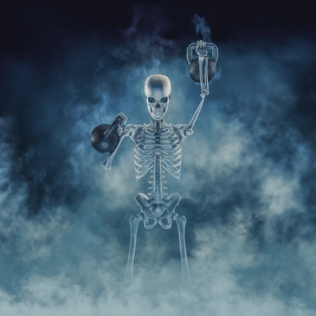 The phantom kettlebell workout  3D illustration of scary fitness skeleton lifting heavy kettlebells emerging through smoke