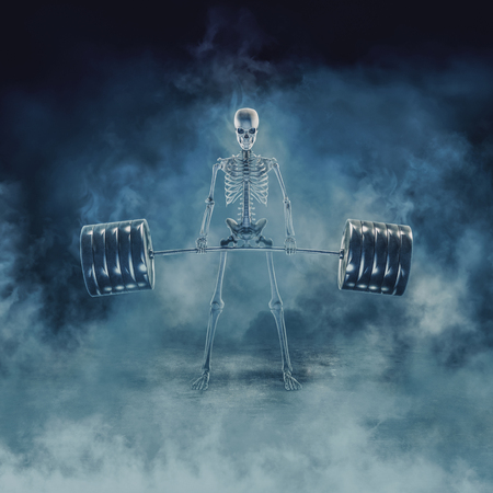 The phantom deadlift  3D illustration of scary fitness skeleton lifting heavy barbell emerging through smoke