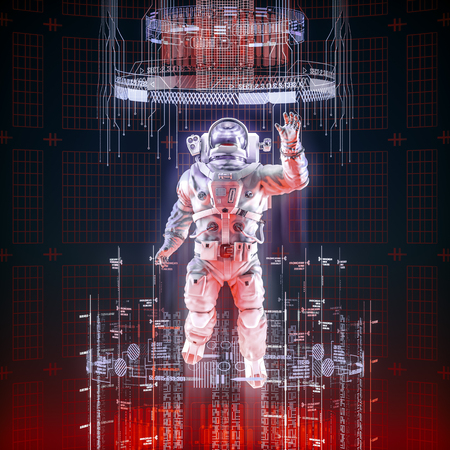 Virtual data explorer astronaut  3D illustration of astronaut in space suit floating up through glowing virtual data