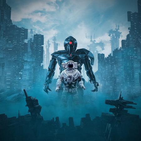 La sombra del cíclope / Ilustración 3D de un astronauta de la escena de ciencia ficción custodiado por un robot cíclope gigante