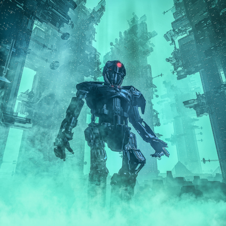 The city sentinel / 3D illustration of dark robot in towering futuristic city shrouded in mist