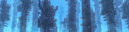 Space colony towers panorama  3D illustration of dark futuristic city shrouded in mist